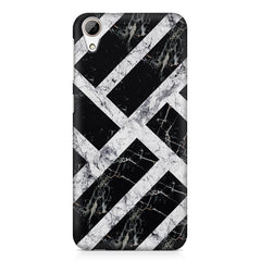 Black & white rectangular bars  HTC Desire 626  printed back cover