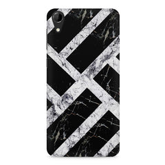 Black & white rectangular bars  HTC Desire 728 ( dual sim )  printed back cover