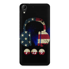 America tunes Blue sprayed  HTC Desire 728 ( dual sim )  printed back cover