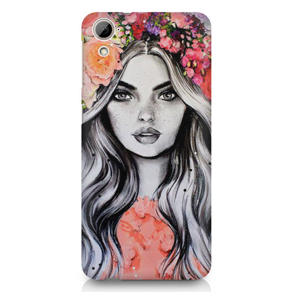 Beautiful Girl With Pretty Floral Hat HTC 826 (Dual Sim) printed back cover