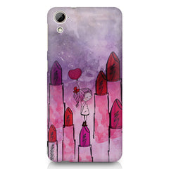 Girl with lipsticks sketch design HTC Desire 820 printed back cover