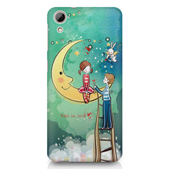 Couple on moon sketch design HTC Desire 626 printed back cover
