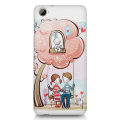 Couple swinging together sketch design HTC Desire 626 printed back cover