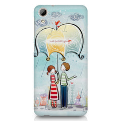 Couple under umbrella sketch design HTC Desire 626 printed back cover