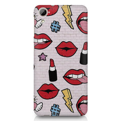 Lips pattern design HTC Desire 626 printed back cover