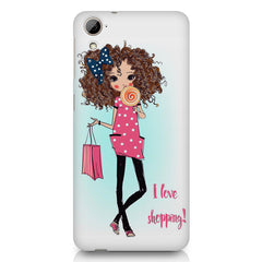 I love shopping quote design HTC Desire 626 printed back cover