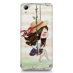 Girl swinging sketch design HTC Desire 626 printed back cover