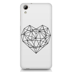 Black & white geometrical heart design HTC Desire 626 printed back cover