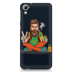 Beard guy smoking sitting design HTC Desire 626 printed back cover