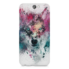 Splashed colours Wolf Design HTC One A9 hard plastic printed back cover