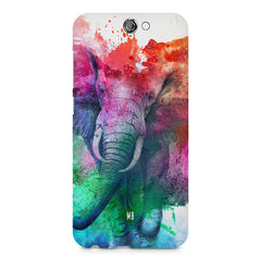 colourful portrait of Elephant HTC One A9 hard plastic printed back cover