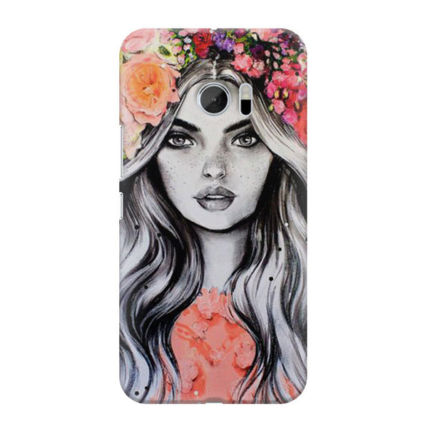 Beautiful Girl With Pretty Floral Hat HTC M10 printed back cover