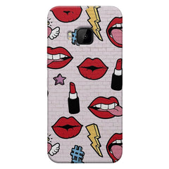 Sexy Red Lips Design HTC one M9 hard plastic printed back cover