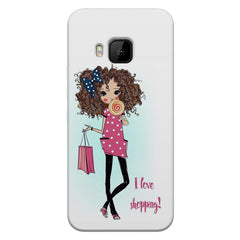 I love Shopping Girly design HTC one M9 hard plastic printed back cover