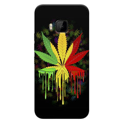 Marijuana colour dripping design    HTC one M9 hard plastic printed back cover