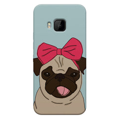 Pug with a bow on head sketch design    HTC one M9 hard plastic printed back cover