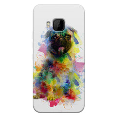 Colours splashed pug    HTC one M9 hard plastic printed back cover