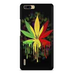 Marijuana colour dripping design    Huwaei Honor 6 plus hard plastic printed back cover