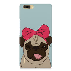Pug with a bow on head sketch design    Huwaei Honor 6 plus hard plastic printed back cover