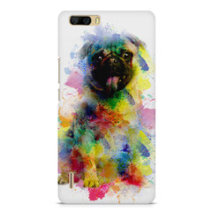 Colours splashed pug    Huwaei Honor 6 plus hard plastic printed back cover