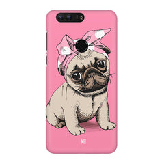 Pug with a bow on head sketch design Huawei Honor 8 all side printed hard back cover by Motivate box Huawei Honor 8 hard plastic printed back cover.