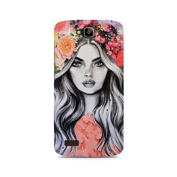 Beautiful Girl With Pretty Floral Hat Huwaei Honor Holly printed back cover