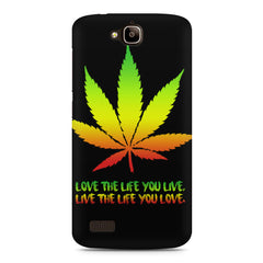 Love The Life You Live Bob Marley Ganja Quote Huwaei Honor Holly printed back cover