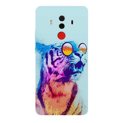 A funny, colourful yet cool portrait of a tiger wearing reflectors. Huawei Honor Matte 10 Pro hard plastic printed back cover.