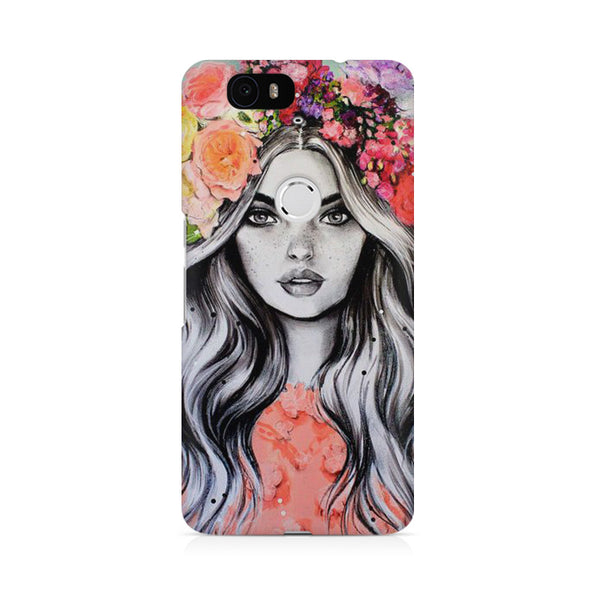 Girl with floral hat Huwaei Honor 4C printed back cover