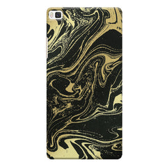 Golden black marble design Huwaei Honor 8 printed back cover