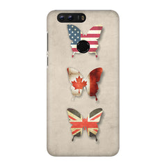 Butterfly in country flag colors Huawei Honor 7C hard plastic printed back cover