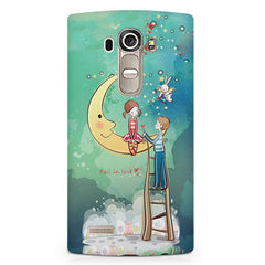 Couple on moon sketch design LG G4 printed back cover