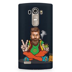 Beard guy smoking sitting design LG G4 Stylus printed back cover