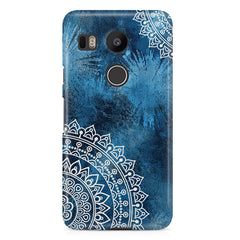 A Vivid Blue ethnic yet cool pattern LG Nexus 5X hard plastic printed back cover.