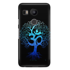 A beautiful blue tree with Om inscribed LG Nexus 5X hard plastic printed back cover.