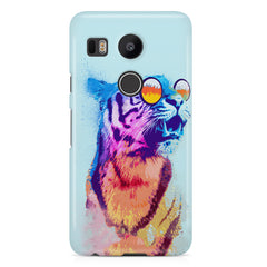 A funny, colourful yet cool portrait of a tiger wearing reflectors. LG Nexus 5X hard plastic printed back cover.