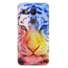 Colourful Tiger Design LG Nexus 5X hard plastic printed back cover.