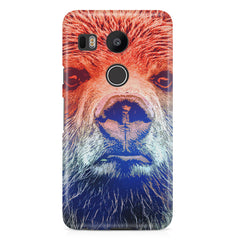 Zoomed Bear Design  LG Nexus 5X hard plastic printed back cover.