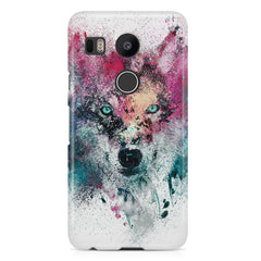 Splashed colours Wolf Design LG Nexus 5X hard plastic printed back cover.