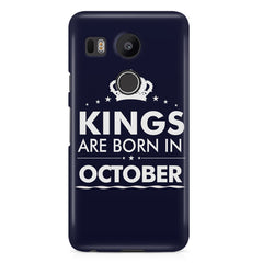 Kings are born in October design LG Nexus 5X all side printed hard back cover by Motivate box LG Nexus 5X hard plastic printed back cover.