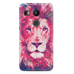 Zoomed pixel look of Lion design LG Nexus 5X hard plastic printed back cover.
