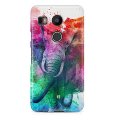 colourful portrait of Elephant LG Nexus 5X hard plastic printed back cover.