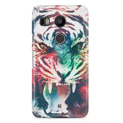 Tiger with a ferocious look LG Nexus 5X hard plastic printed back cover.