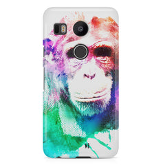 Colourful Monkey portrait LG Nexus 5X hard plastic printed back cover.