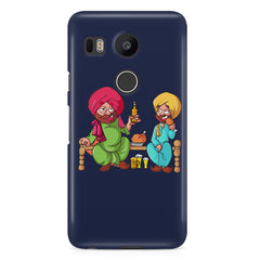 Punjabi sardars with chicken and beer avatar LG Nexus 5X hard plastic printed back cover.