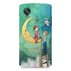 Couple on moon sketch design LG Nexus 5 printed back cover