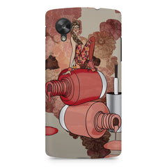 Girl on nail paints sketch design LG Nexus 5 printed back cover