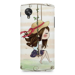 Girl swinging sketch design LG Nexus 5 printed back cover