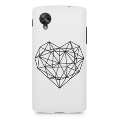 Black & white geometrical heart design LG Nexus 5 printed back cover