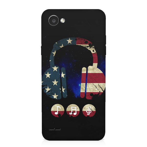America tunes Blue sprayed  LG Q6  printed back cover